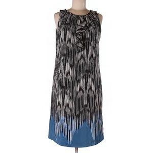 ELLEN TRACY Ruffle Front EUC Gradient Shift Dress